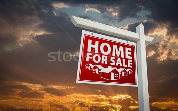 Stock fotó: Piros · otthon · vásár · ingatlan · felirat · naplemente