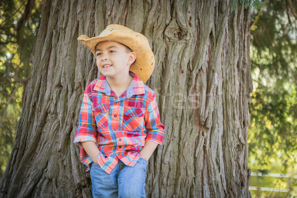 Mixed Race Young Boy Wearing Cowboy Hat Standing Outdoors. Stock photo © feverpitch