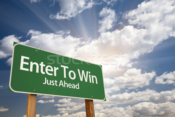 Stock photo: Enter To Win Green Road Sign