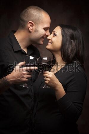 Stockfoto: Gelukkig · halfbloed · paar · wijnglazen · jonge