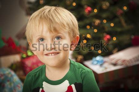 Jonge knorrig jongen vergadering kerstboom cute Stockfoto © feverpitch