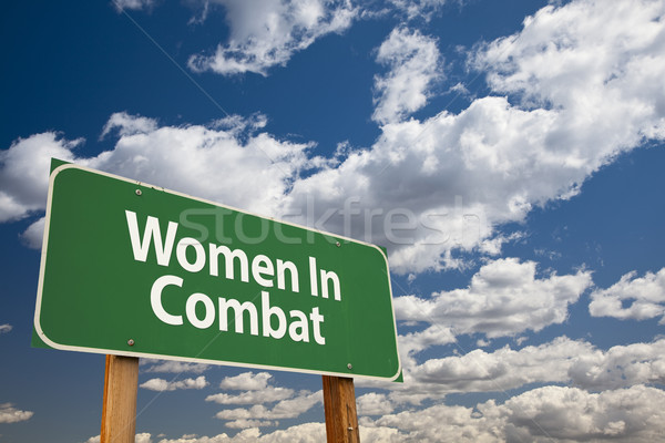 Women In Combat Green Road Sign Stock photo © feverpitch
