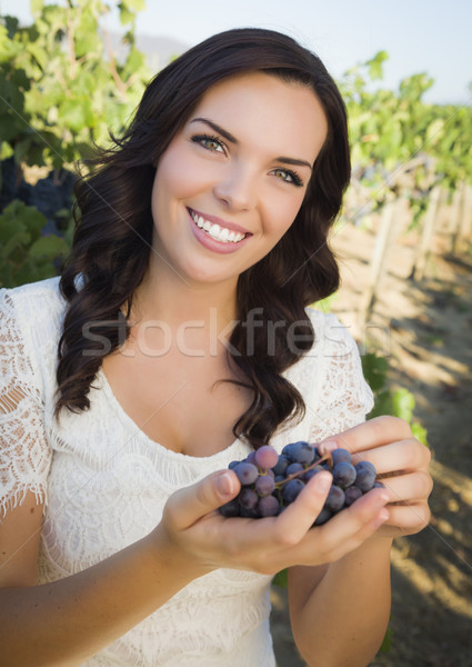 Stock photo: Young Adult Woman Enjoying The Wine Grapes in The Vineyard