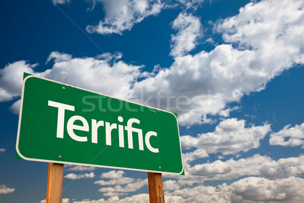 Terrific Green Road Sign with Sky Stock photo © feverpitch
