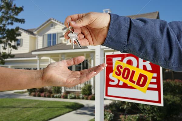 Stock fotó: Ház · kulcsok · új · otthon · gyönyörű · épület · otthon