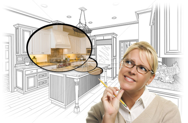 Woman Over Custom Kitchen Drawing and Thought Bubble Photo Stock photo © feverpitch