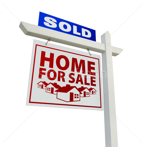 blue and red sold home for sale real estate sign