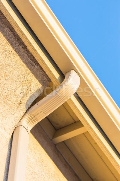 Huis nieuwe naadloos aluminium regen gebouw Stockfoto © feverpitch