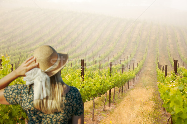 Belle femme Winery printemps jour femme ferme Photo stock © feverpitch