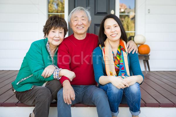 Foto stock: Feliz · chinês · senior · adulto · mãe · pai