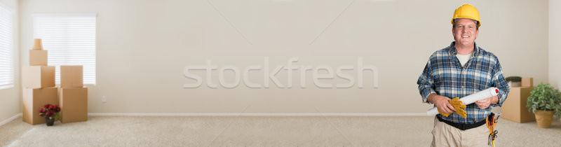Plannen binnenkant lege kamer bewegende Stockfoto © feverpitch