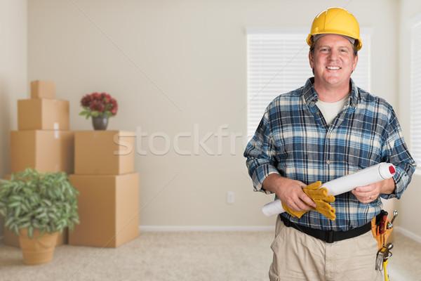 Beszállító tervek védősisak bent üres szoba mozog Stock fotó © feverpitch