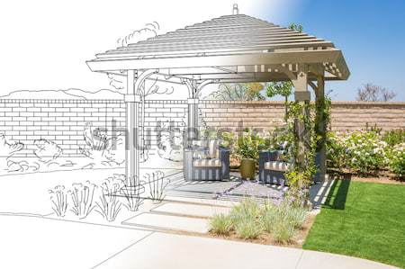 Completed Pergola Photo with Page Flipping to Drawing Behind Stock photo © feverpitch
