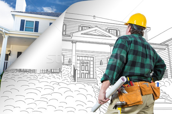 Contractor Facing House Drawing with Page Corner Flipping to Pho Stock photo © feverpitch