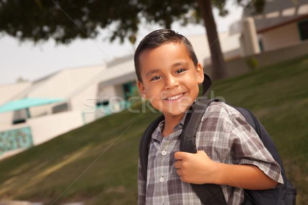 Foto stock: Feliz · jóvenes · hispanos · nino · listo · escuela