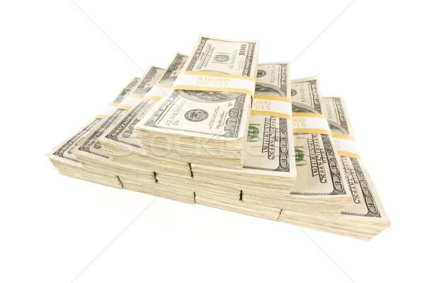 Stacks of One Hundred Dollar Bills on White Stock photo © feverpitch