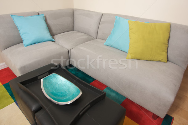 Grey Suede Couch Corner Area Stock photo © feverpitch