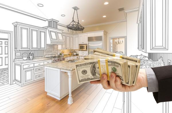 Stockfoto: Hand · cash · keuken · ontwerp · tekening · foto