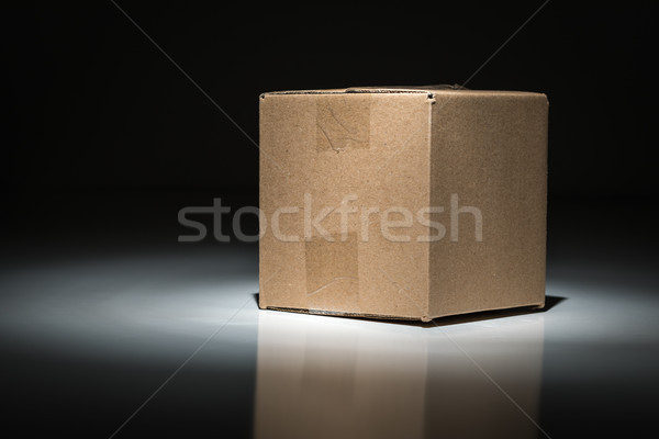 Blank Carboard Shipping Box Under Spot Light. Stock photo © feverpitch