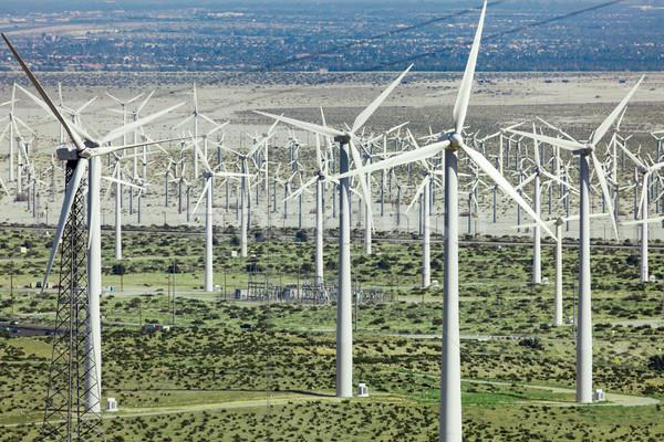 Dramatisch windturbine boerderij woestijn Californië landschap Stockfoto © feverpitch