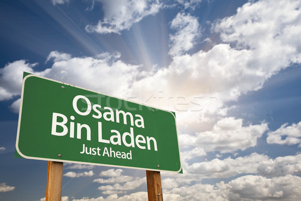 Osama Bin Laden Green Road Sign Stock photo © feverpitch