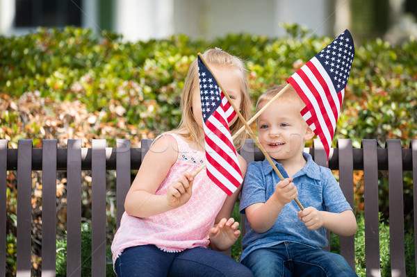 Young Sister and Brother Waving American Flags On The Bench At T Stock photo © feverpitch