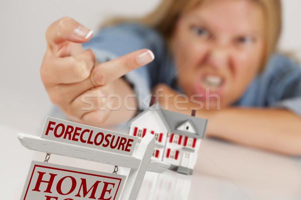 Nő madár mögött modell otthon zálogjog érvényesítése Stock fotó © feverpitch