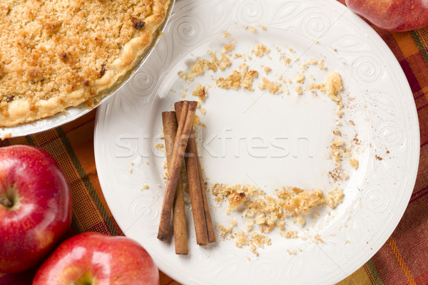 Pie, Apples, Cinnamon Sticks and Copy Spaced Crumbs on Plate Stock photo © feverpitch