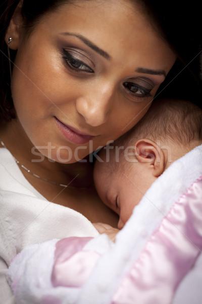 Stock fotó: Vonzó · kisebbségi · nő · újszülött · baba · fiatal