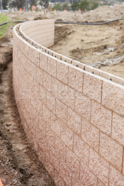 New Outdoor Retaining Wall Being Built Stock photo © feverpitch
