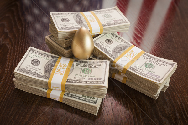 Golden Egg and Thousands of Dollars with American Flag Reflectio Stock photo © feverpitch