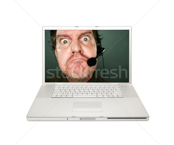 Grincheux service clients homme portable écran isolé Photo stock © feverpitch