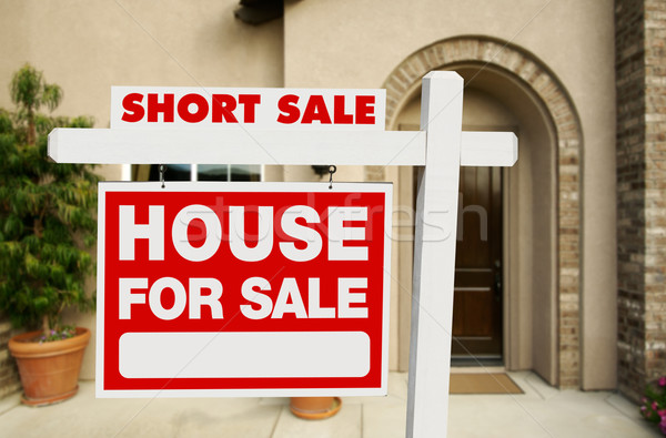 Short Sale Real Estate Sign and House Stock photo © feverpitch