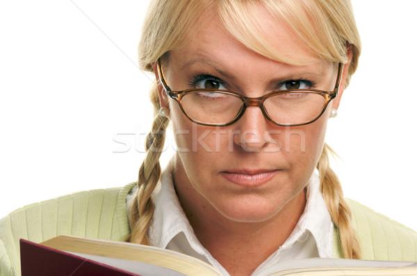 Komoly női könyv izolált fehér diák Stock fotó © feverpitch