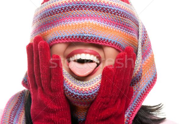 魅力のある女性 カラフル スカーフ 目 外に 舌 ストックフォト © feverpitch