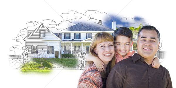 Young Mixed Race Family and Ghosted House Drawing Stock photo © feverpitch