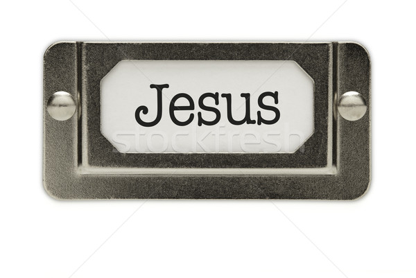 Zdjęcia stock: Jezusa · pliku · szuflada · etykiety · odizolowany · biały