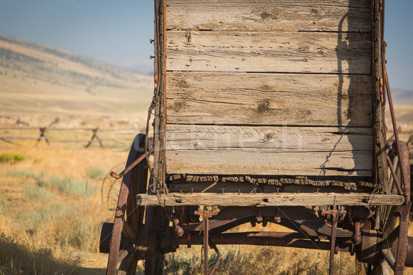 Abstract of Vintage Antique Wood Wagon In Meadow. Stock photo © feverpitch