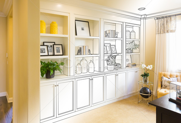 Custom Built-in Shelves and Cabinets Design Drawing Gradating to Stock photo © feverpitch