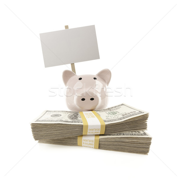 Pink Piggy Bank with Stacks of Money and Blank Sign Stock photo © feverpitch