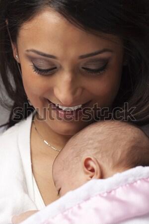 Foto stock: Atraente · étnico · mulher · recém-nascido · bebê · jovem