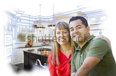 Mixed Race Couple Inside Beautiful Custom Kitchen Stock photo © feverpitch
