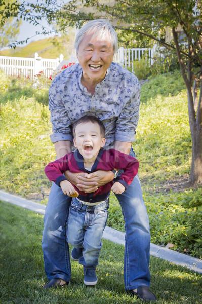 Сток-фото: китайский · дедушке · внук · за · пределами