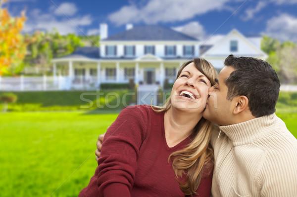 Foto stock: Feliz · casal · casa · belo · menina