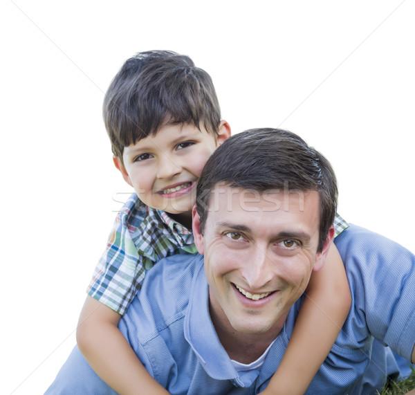 Heureux père en fils ferroutage isolé blanche famille Photo stock © feverpitch