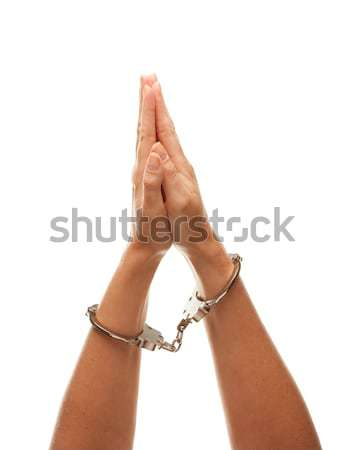 Handcuffed Woman Raising Hands in Air on White Stock photo © feverpitch