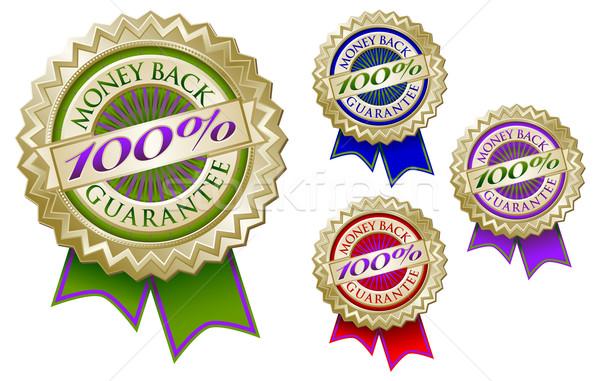 Ingesteld vier 100 geld Maakt een reservekopie garanderen Stockfoto © feverpitch