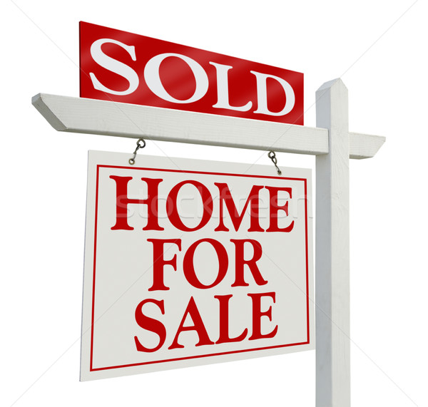 Stock photo: Sold Home For Sale Real Estate Sign