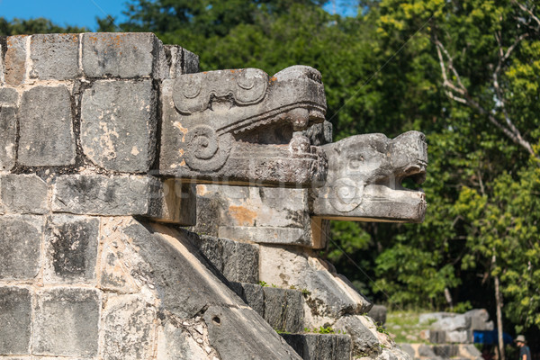 Mayan Jaguar Figurehead Sculptures at the Archaeological Site in Stock photo © feverpitch