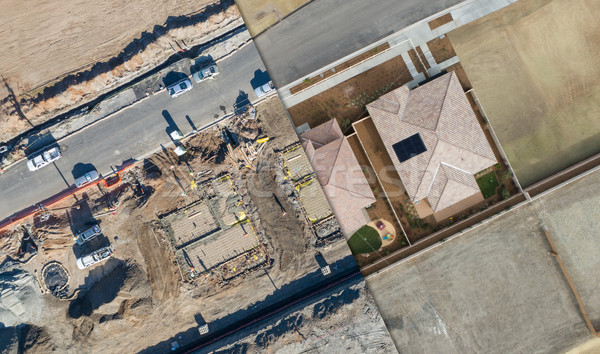 Drone Aerial View Cross Section of Home Construction Site Stock photo © feverpitch